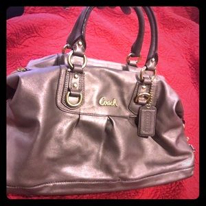 Gold Auth Leather Coach Purse